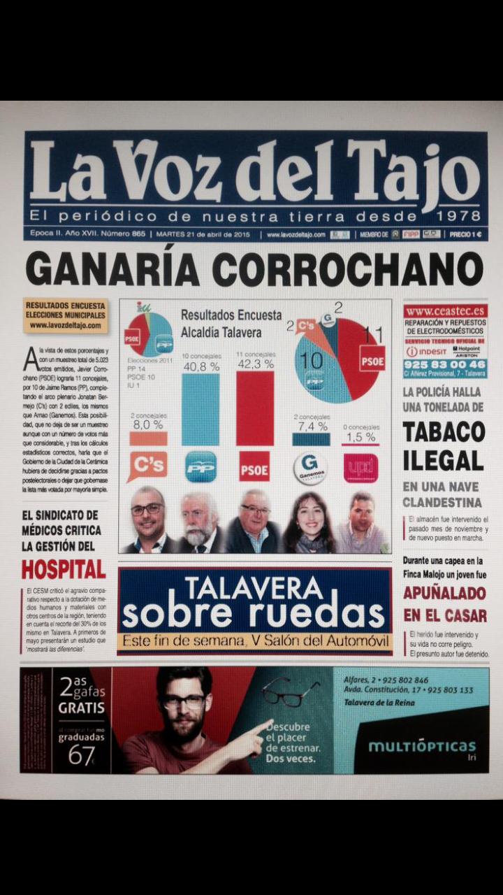 Talavera de la Reina: triunfo del PSOE y entrada de Ciudadanos y Ganemos.