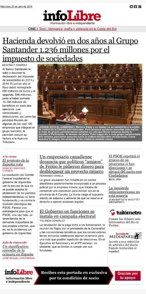 TITULARES DE HOY MIÉRCOLES 20 DE ABRIL.