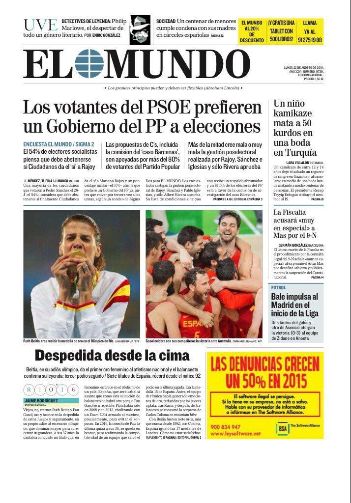 Encuesta de Sigma 2 para El Mundo: Los votantes del PSOE prefieren un gobierno del PP a elecciones