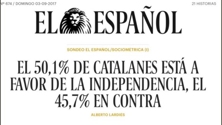 El Español: El 50,1% de los catalanes, a favor de la independencia