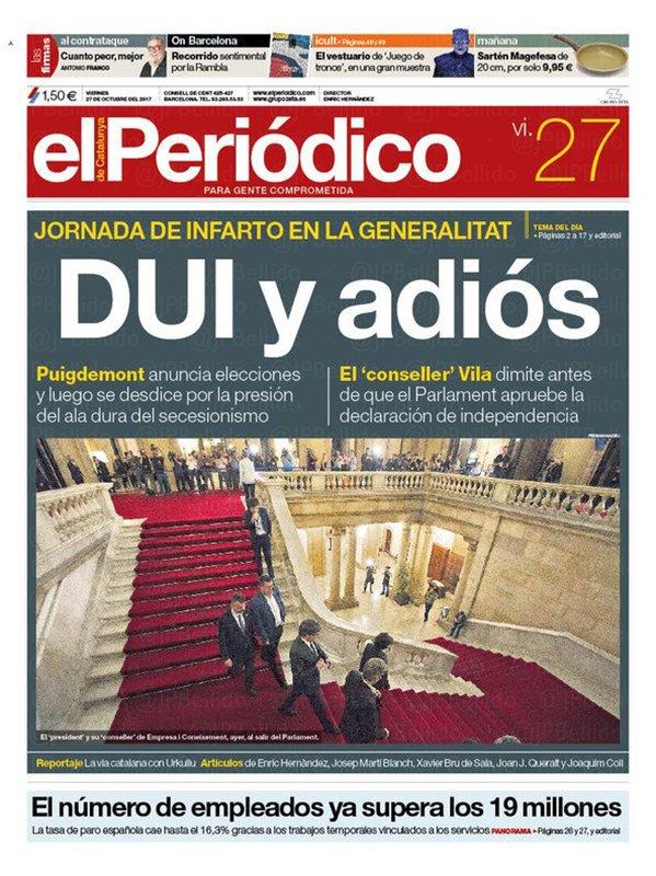 27O: Portadas de prensa de un día…¿histórico?