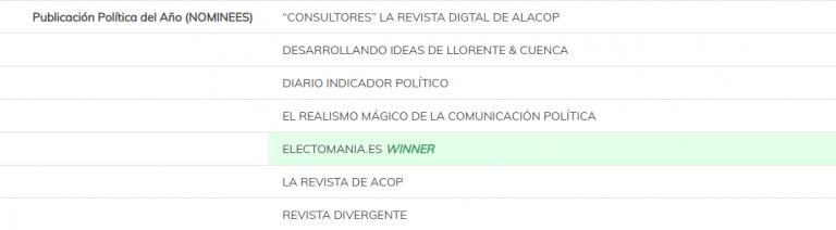 Electomanía, ganadora de los Napolitan Victory Adwards 2018