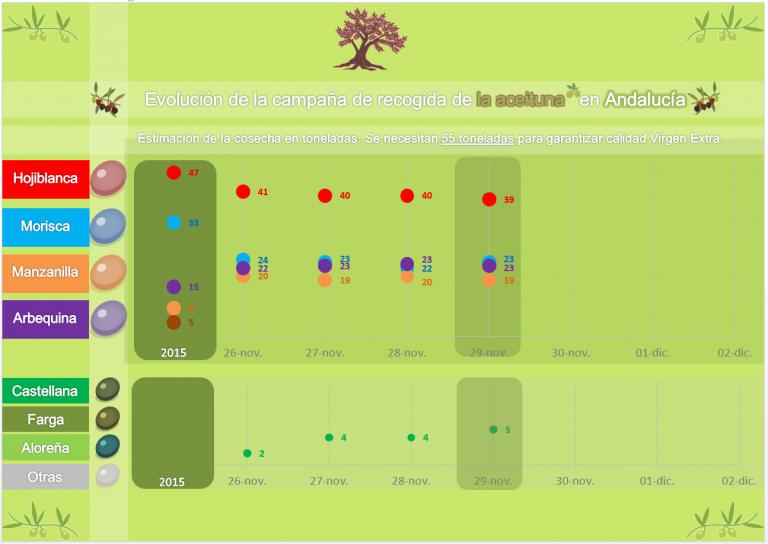 Cosecha de la aceituna (29N): la hojiblanca pierde la cota de 40 Tn, mientras la castellana sube a cinco.