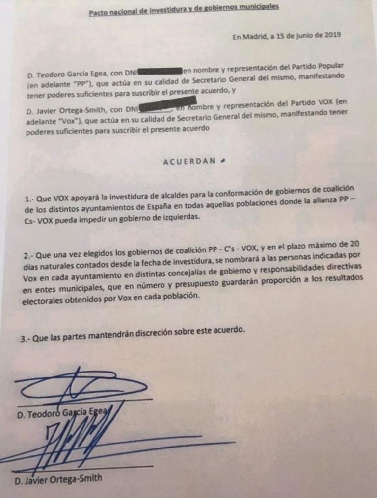 VOX dice que el PP ha incumplido su pacto y difunde su contenido