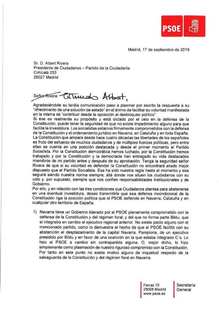 «Querido Albert»: Sánchez envía una carta a Rivera con las garantías de las condiciones solicitadas y le pide su abstención