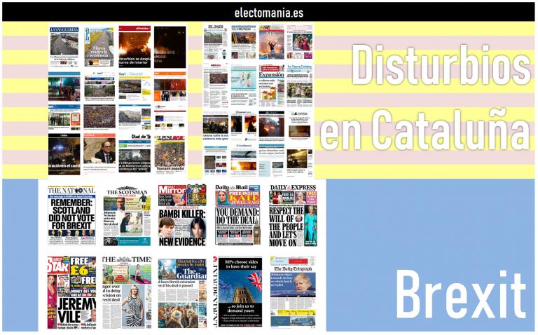 [Especial] Las portadas de prensa (19/10): Brexit y Cataluña