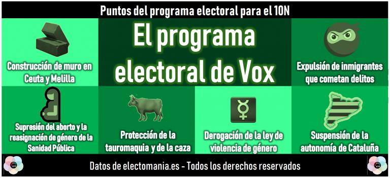El programa electoral de Vox: contruir un muro en Ceuta y Melilla, suspender la autonomía de Cataluña, derogar la ley de violencia de género.