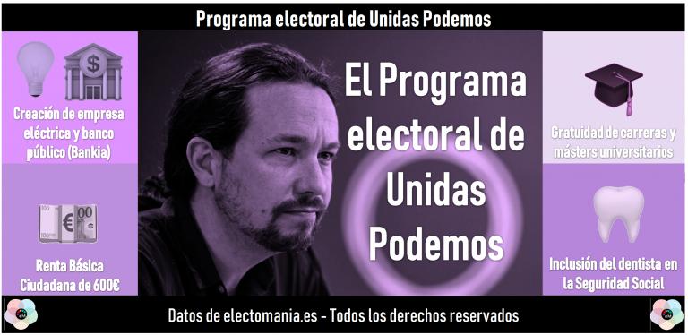 Unidas Podemos presenta su programa para el 10N: renta básica de 600€, compañía eléctrica pública, conversión de Bankia en un banco público y gratuidad universitaria