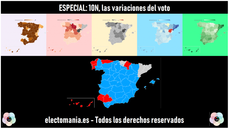 ESPECIAL 10N: analizamos las variaciones de voto de PSOE, PP, UP, Cs y Vox en todas las provincias