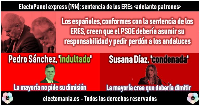 EP sentencia de los ERES: Sánchez, 'indultado' por los ciudadanos. Susana Díaz, 'condenada' a su dimisión.