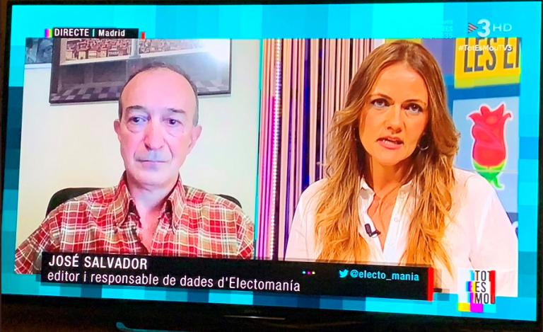 Intervención de Jose Salvador, nuestro reponsable de datos, esta tarde en TV3