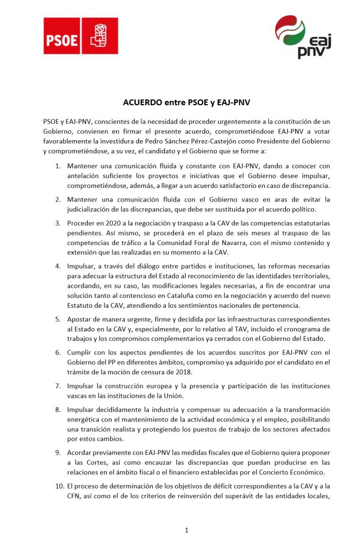 El acuerdo PSOE-PNV: comunicar con antelación y negociar las subidas fiscales, traspasar competencias (y tráfico a Navarra) y fomentar la participación de Euskadi en ámbito deportivo y cultural internacional