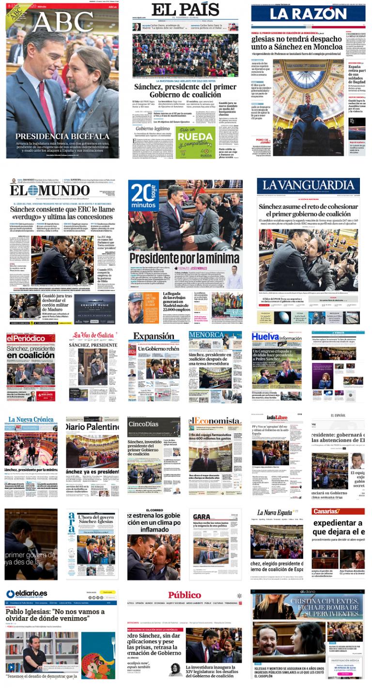 [ESPECIAL] Las Portadas de la prensa (8 de enero 2020 – investidura de Sánchez)