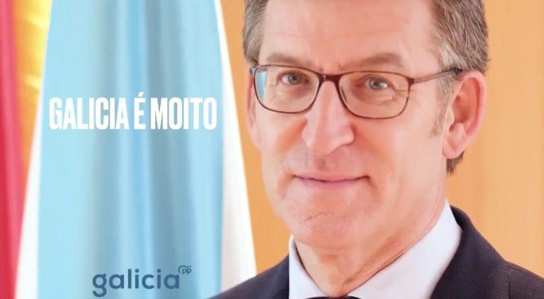 Galicia: Feijoo desplaza de nuevo a la marca PP y la deja casi ilegible en su cartel electoral