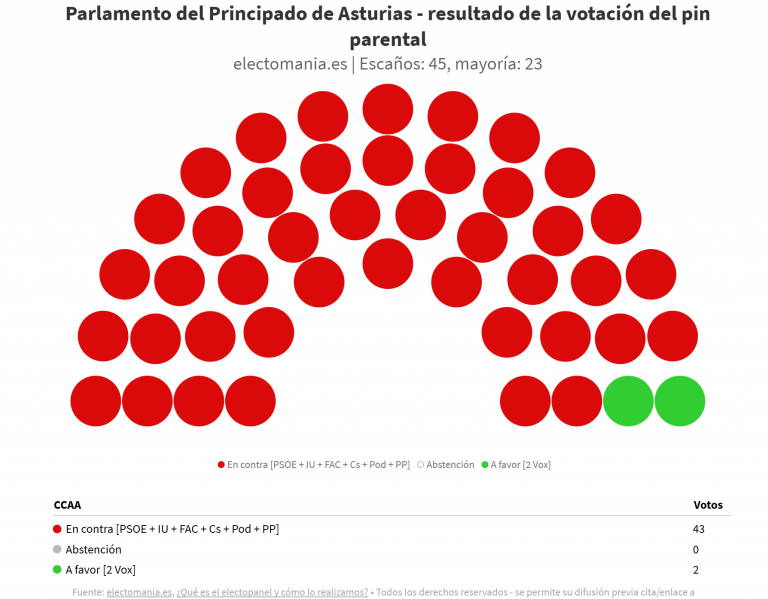 Asturias: el Parlamento autonómico en bloque rechaza la propuesta de pin parental de Vox