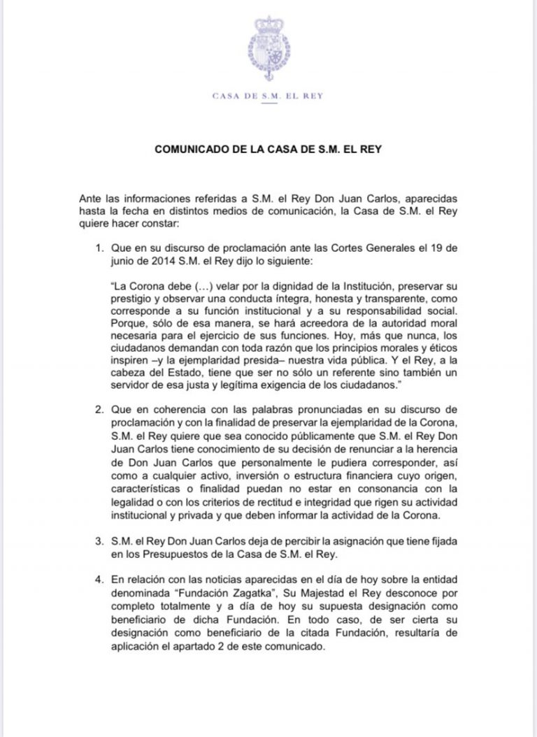 Casa Real emite un comunicado retirando la asignación a Juan Carlos I y renunciando a su herencia