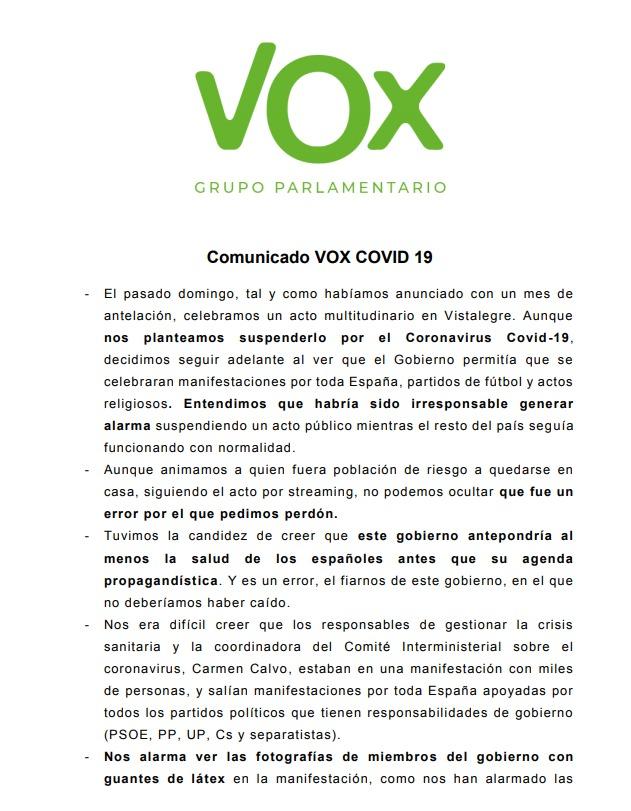 Ortega Smith, el primer dirigente español que da positivo en COVID-19. Vox lo confirma y pide perdón por Vistaalegre III
