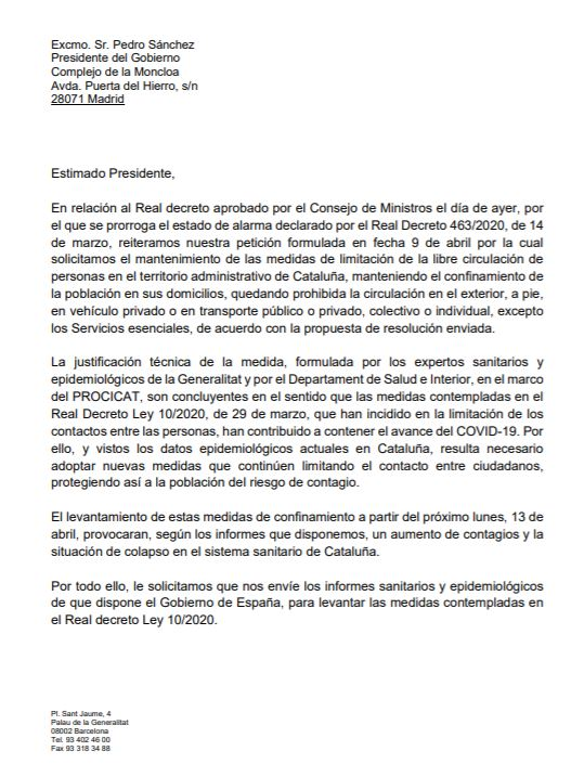 Torra envía una carta a Sánchez pidiéndole que no se produzca la vuelta a la actividad productiva en Cataluña