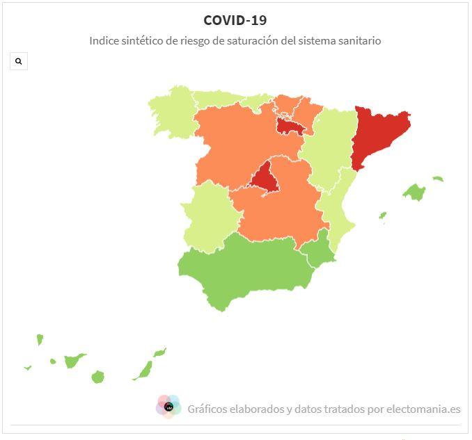 IS4 (27A): el indicador de riesgo sanitario del COVID-19 baja hoy en casi todas las comunidades, salvo Cataluña