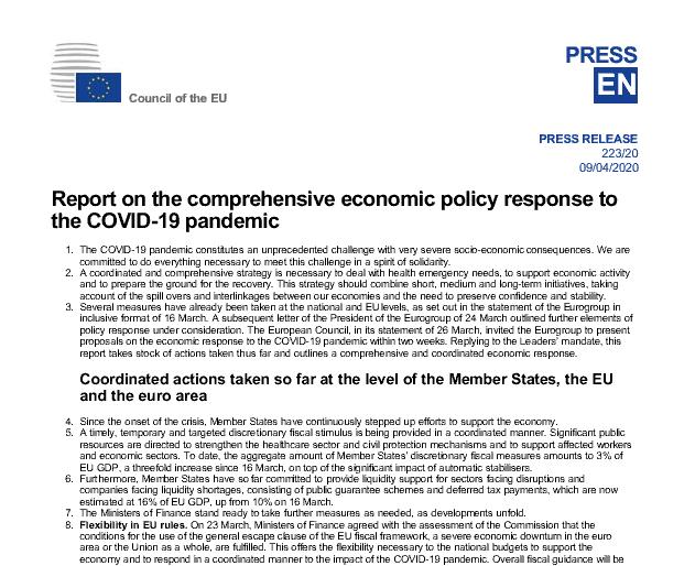 Acuerdo en el eurogrupo: documento resumen que recoge los grandes puntos