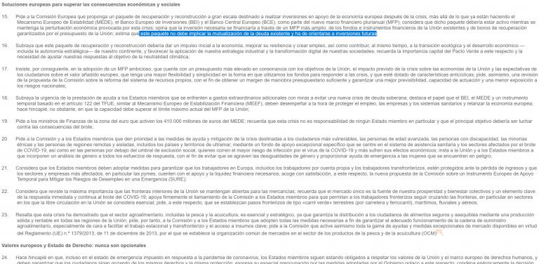 Resultado de la votación a la propuesta de 'bonos de reconstrucción' sin mutualización de deuda (eurobonos?)