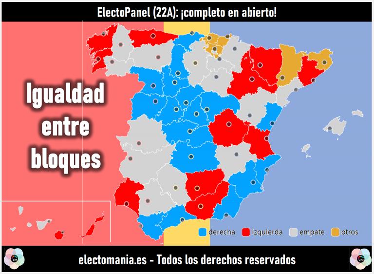 ElectoPanel (22A): empate máximo entre bloques. Descenso de Ciudadanos