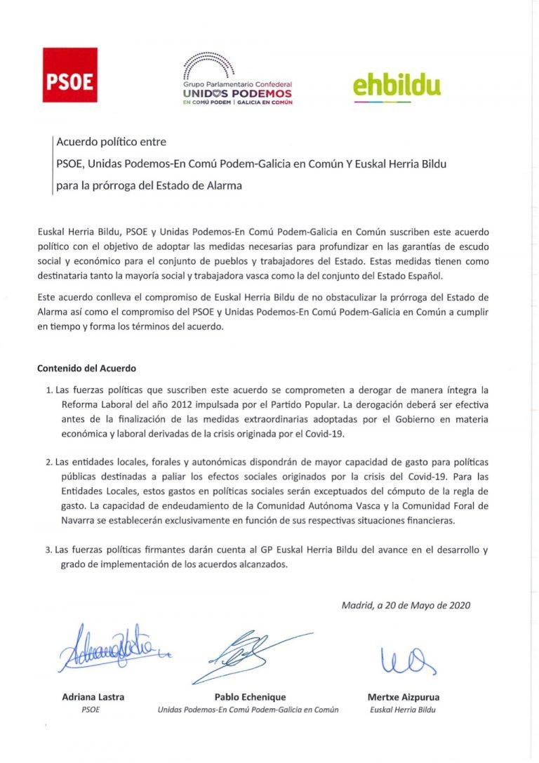 El PSOE rectifica el acuerdo firmado con UP y EH Bildu sobre la derogación de la reforma laboral