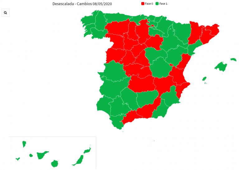 Listado de provincias y sus fases de desescalada a partir del lunes 11My