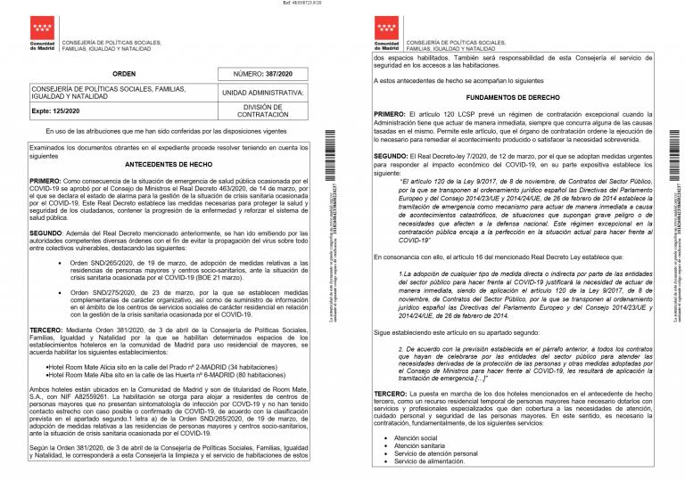 Retiran del Portal de Transparencia de la CAM una licitación de hoy que adjudicaba 500.000€ a la empresa del apartamento de Ayuso