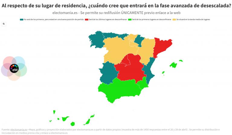 ElectoPanel (1M): opinión de los españoles sobre cuándo llegará la desescalada a su lugar de residencia