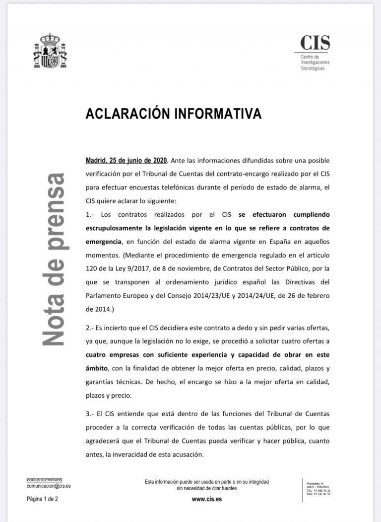 El Tribunal de Cuentas investiga al CIS por la adjudicación de un contrato en abril para encuestas telefónicas