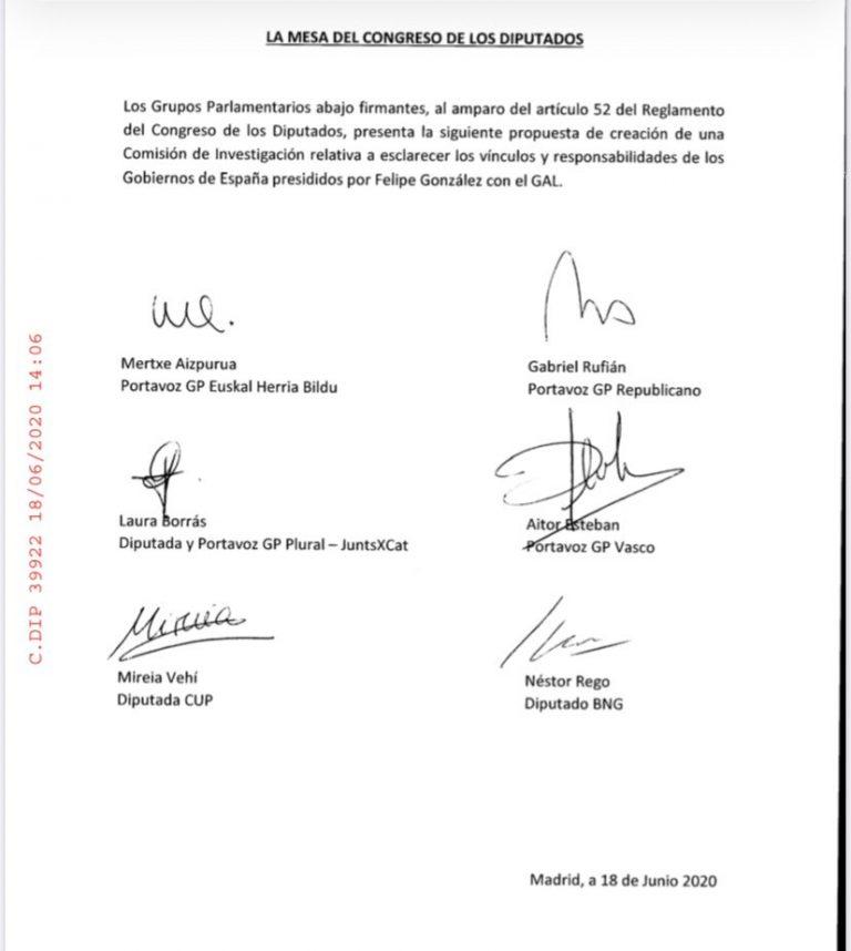 Varios grupos piden una Comisión de Investigación sobre la vinculación de Felipe González con el GAL