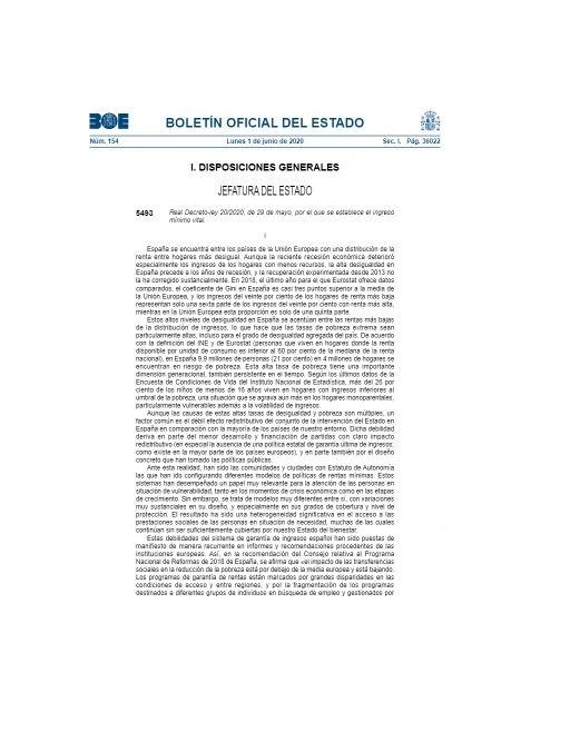 Publicado el IMV en el BOE, el PP duda entre la abstención y el voto favorable