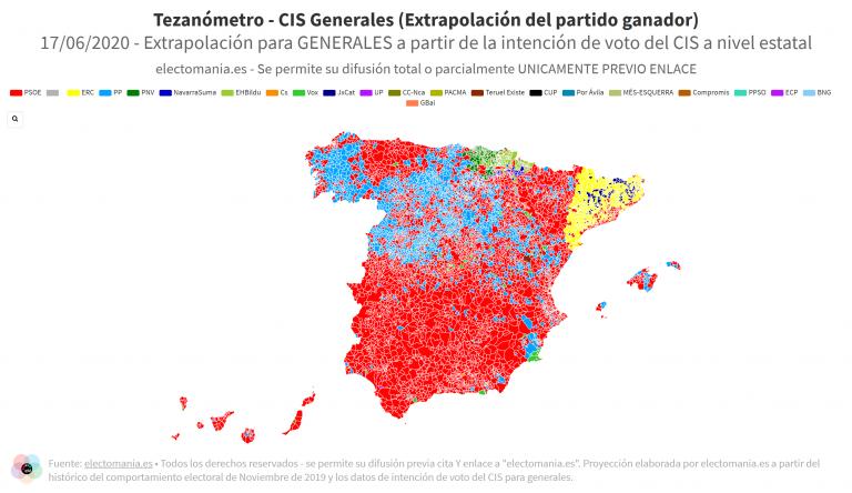 Tezanómetro (17J): Proyección del ganador para Generales por municipios a partir del CIS