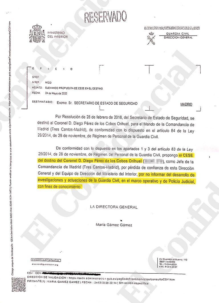 El Confidencial desvela una nota de la Guardia Civil que demostraría que el cese de Pérez de los Cobos se debería a 'causas políticas'