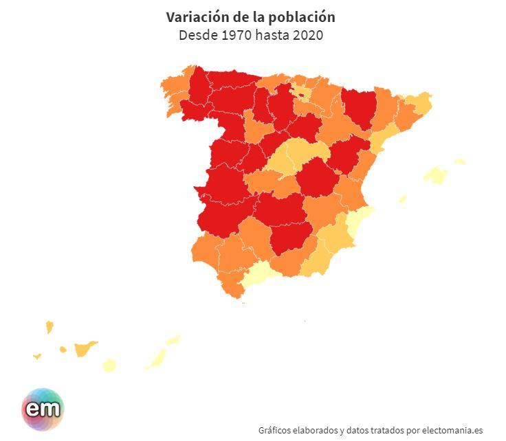 Cómo y dónde España se llenó y se vació (1970-2020)