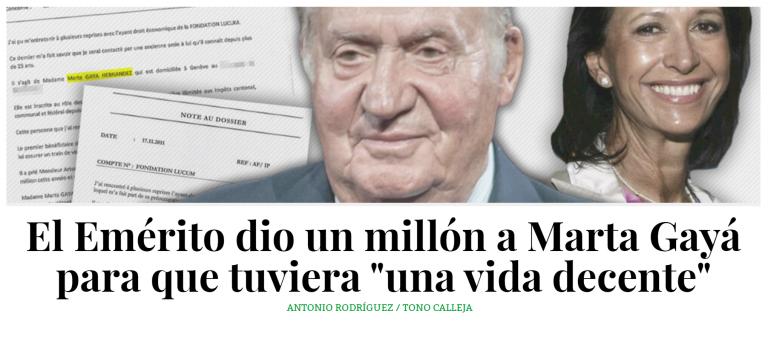 Juan Carlos I regaló un millón a Marta Gayá y su fundación financió a empresarios venezolanos exiliados