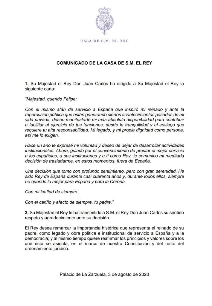 El rey Juan Carlos I abandona España y se va al exilio. Felipe VI remarca la figura de su padre