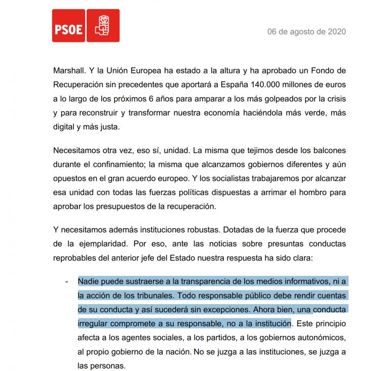 Pedro Sánchez envía una carta a la militancia apoyando a la Monarquía