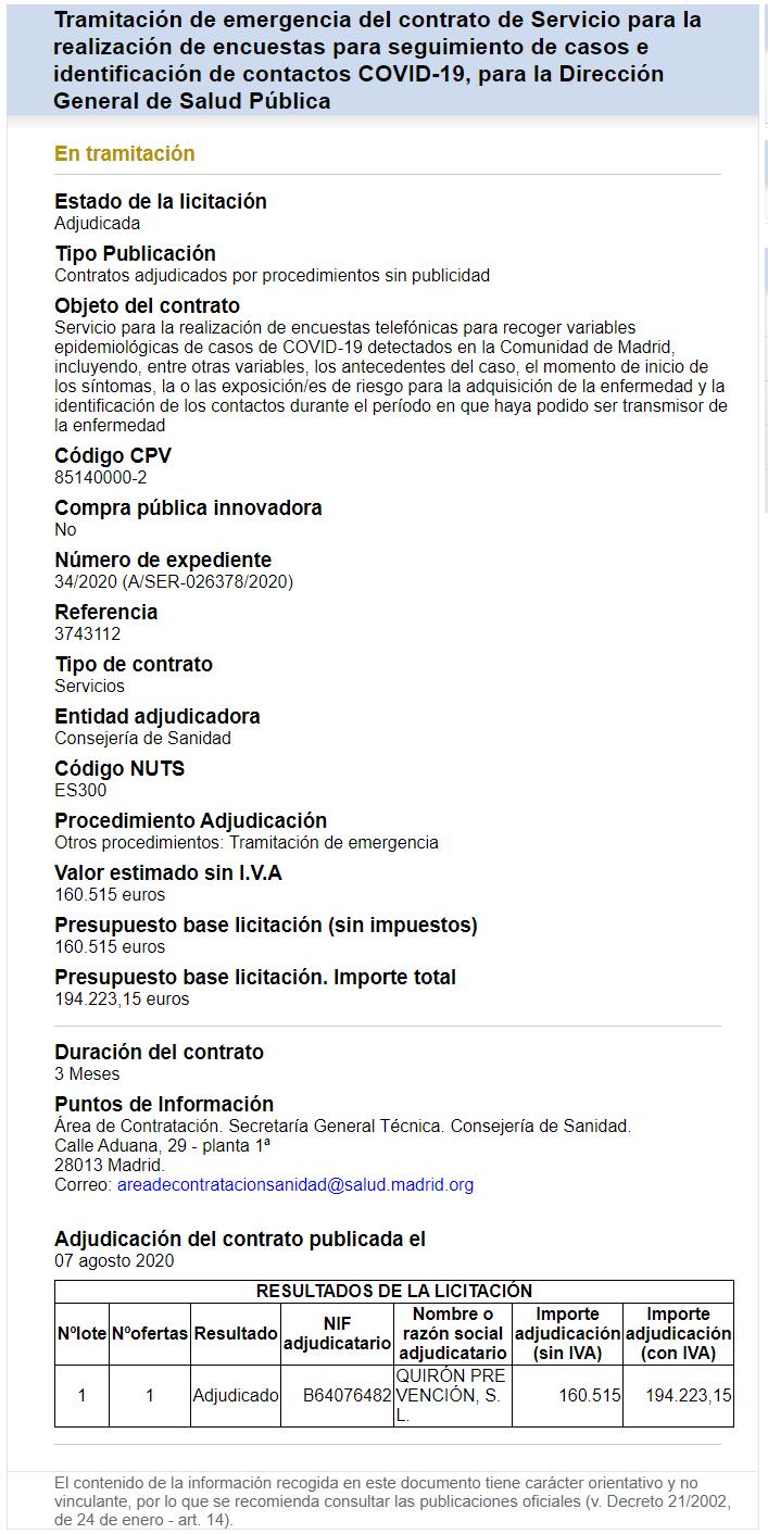 La Comunidad de Madrid privatiza el servicio de rastreadores COVID ante la falta de voluntarios