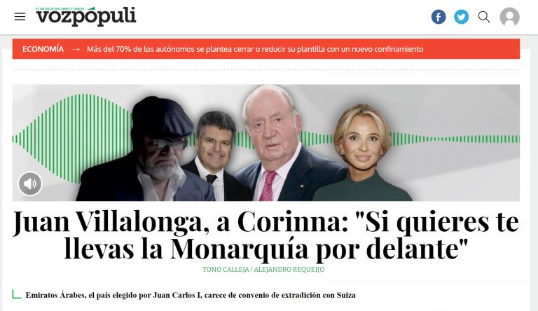 Villalonga a Corinna: «Si quieres, te cargas la Monarquía». Los medios comienzan a hablar de la 'no extradición' de Juan Carlos