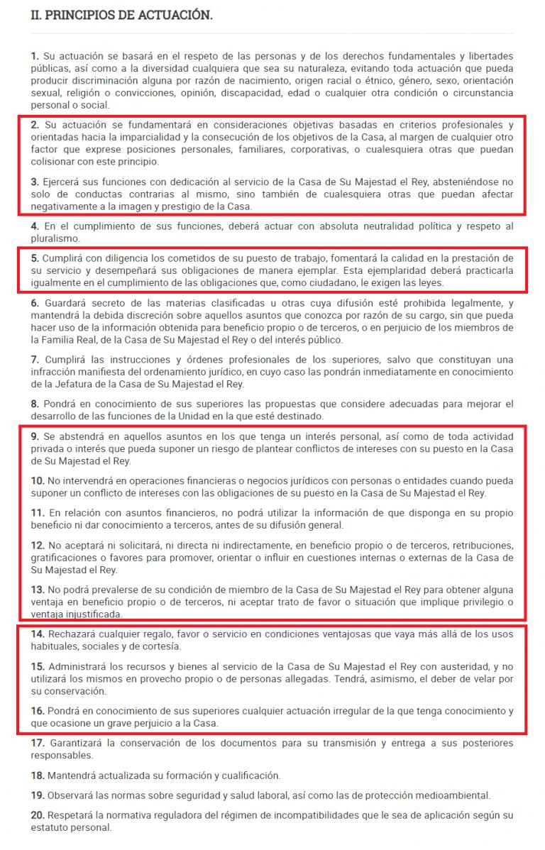 Juan Carlos I incumpliría 11 de los 20 puntos del 'Código de Conducta' que Casa Real impone a todos sus empleados