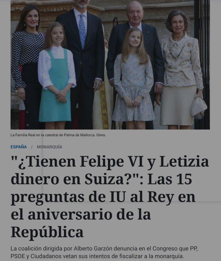 ¿Tiene Letizia cuentas en Suiza? IU lo preguntó en el Congreso, la pregunta fue rechazada