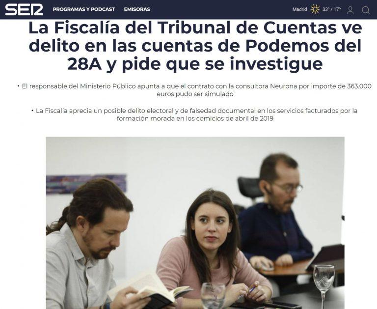 La Fiscalía del Tribunal de Cuentas insta a la Justicia a que se investigue a Podemos tras ver indicios de delito en sus cuentas