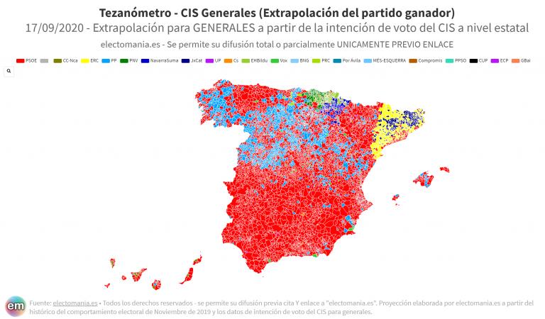 Tezanómetro (17S): el país seguiría teñido de rojo, según el CIS