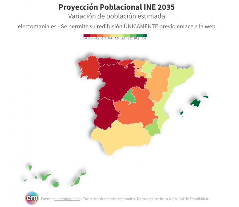 España 2035: el Noroeste se vacía, el Este gana población y Madrid se superpuebla