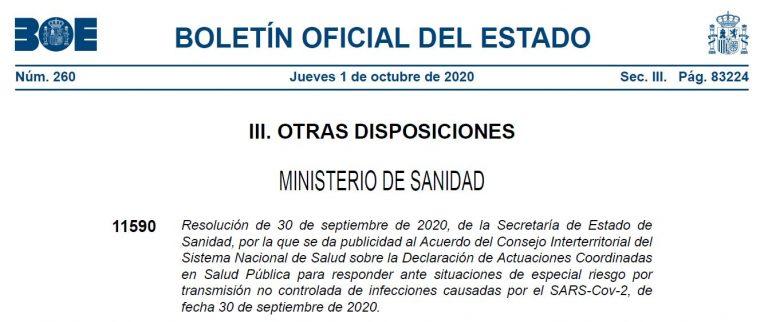 Texto íntegro de la resolución sobre el confinamiento de municipios de Madrid