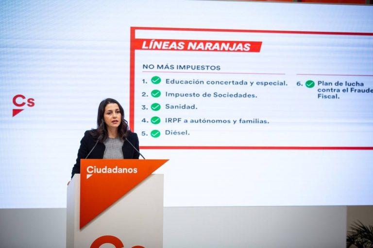 Arrimadas pone como condición para los presupuestos el español como lengua vehicular