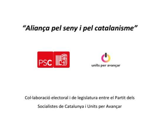 El PSC aprueba estudiar la petición de Units de reeditar el pacto electoral de 2017