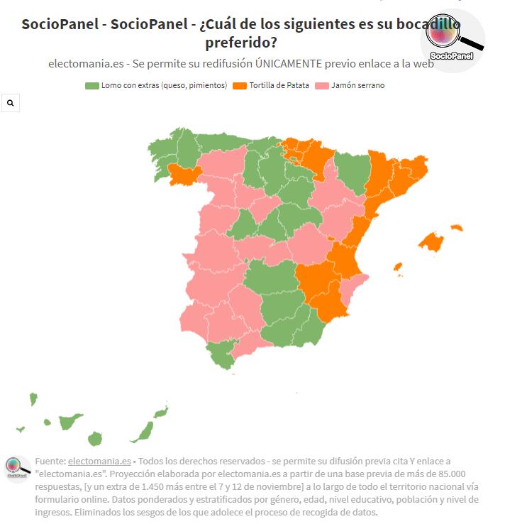 SocioPanel (17N): el bocadillo preferido en España es el de…